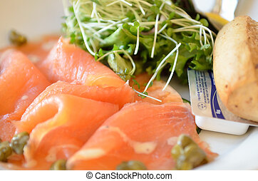 Stock image of smoked salmon