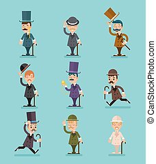 Gentleman Victorian Characters Different Poses and Actions...