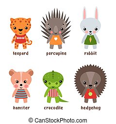 Set of isolated hedgehog and kid urchin, leopard - Hamster...