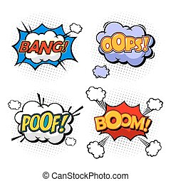 Replicas in form of clouds, bubble speeches - Oops and boom,...