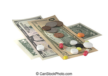 Money and tablets on white background. For you design