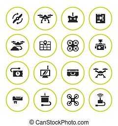 Set round icons of quadrocopter and drone isolated on white....