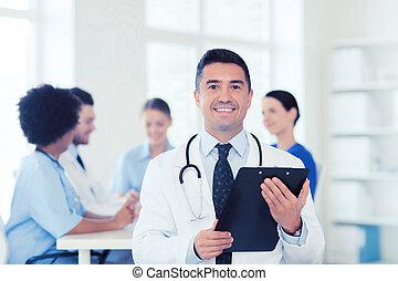 doutor, médico, área de transferência, equipe, sobre, Feliz