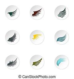 plat,  Style, icônes, ensemble, Ailes, oiseau