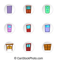 Door icons set, cartoon style - Door icons set. Cartoon...