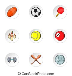 Accessories for training icons set, cartoon style -...