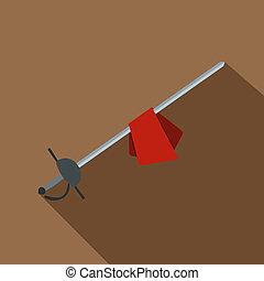 Saber icon, flat style - Saber icon. Flat illustration of...