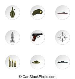 armas, jogo, estilo, ícones, apartamento