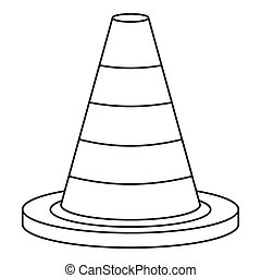Traffic safety cone icon, outline style