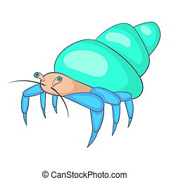 Blue hermit crab icon, cartoon style - Blue hermit crab...