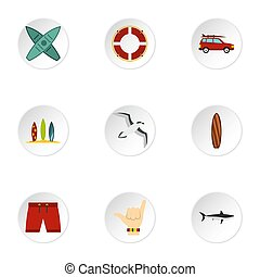 Surfing club icons set, flat style - Surfing club icons set....