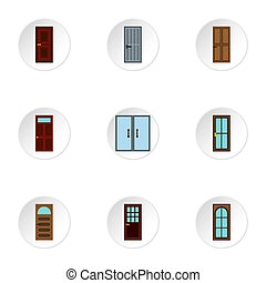 Exterior doors icons set, flat style - Exterior doors icons...