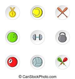 Training icons set, cartoon style - Training icons set....