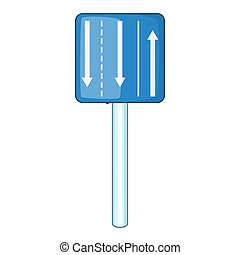 Appropriate traffic lanes icon, cartoon style - Appropriate...