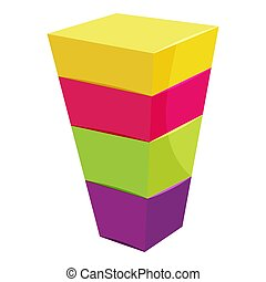 Color cubes stacked icon, cartoon style - Color cubes...