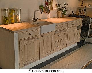 moderno, neo, classico, disegno, legno, Paese, cucina