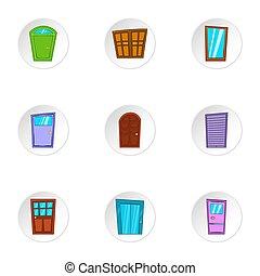 Opening icons set, cartoon style - Opening icons set....