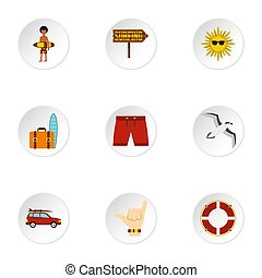 Surfing icons set, flat style - Surfing icons set. Flat...