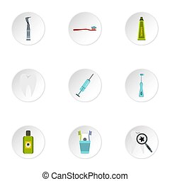 Dental clinic icons set, flat style - Dental clinic icons...