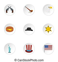 Holiday in USA icons set, flat style - Holiday in USA icons...