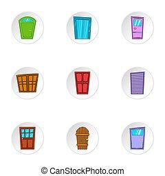 Security door icons set, cartoon style - Security door icons...