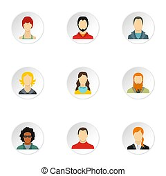 Avatar people icons set, flat style - Avatar people icons...