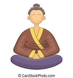 Japnese monk icon, cartoon style