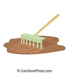 Rake icon, cartoon style - Rake icon. Cartoon illustration...