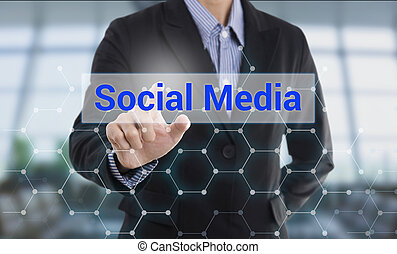 Businessman hand pressing button social media. sign on virtual screen. business concept.