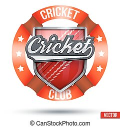 Cricket Sport Label - Cricket Label. Ball and shield with...