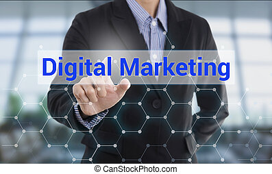 Businessman hand pressing button digital marketing. sign on virtual screen. business concept.