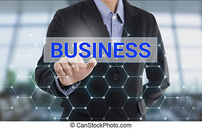 Businessman hand pressing button business. sign on virtual screen. business concept.