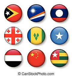 Set of world flags round badges ( East Timor . Marshall...