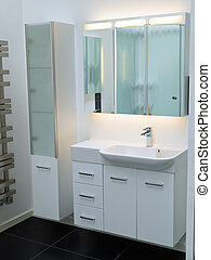 Modern contemporary designer white bathroom - Details of a...