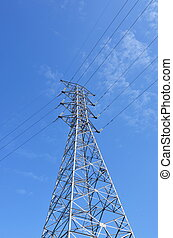 Telegraph pole with blue sky
