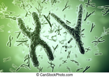 Chromosomes on scientific background. Life and biology, medicine scientific. 3d rendering
