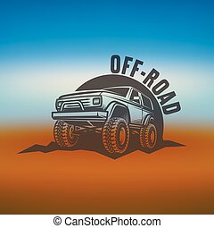 off-road suv car monochrome labels, emblems, badges or logos...