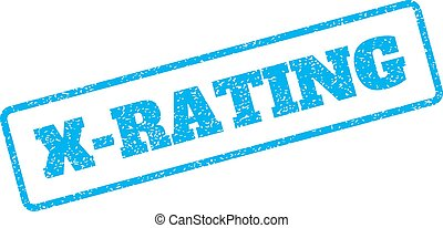X-Rating Rubber Stamp - Blue rubber seal stamp with X-Rating...