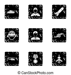 Equipment for war icons set, grunge style - Equipment for...