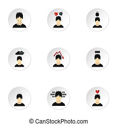 Emotions types icons set, flat style - Emotions types icons...