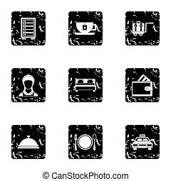Hostel icons set, grunge style - Hostel icons set. Grunge...
