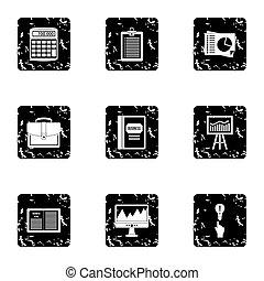 Company icons set, grunge style - Company icons set. Grunge...