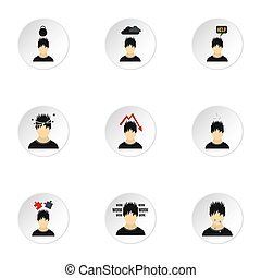 Emotional feelings icons set, flat style - Emotional...
