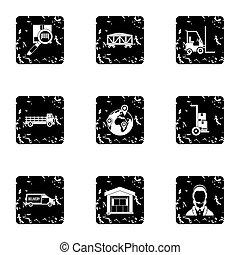 Store icons set, grunge style - Store icons set. Grunge...