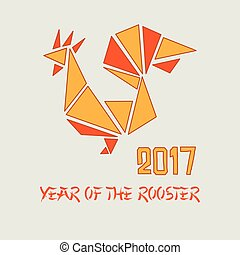 Minimalistic Vector Rooster illustration. Red Rooster from geometric shapes.