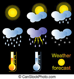 Forecast - Set of icons for the forecast pogodySolntse and...