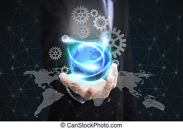 business hand holding globe earth concept business social, networking. Elements of this image furnished by NASA