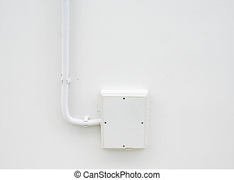 White electrical box with long tube. - White electrical box...