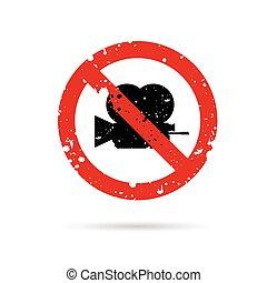 camera sign in red color design illustration