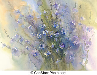 blue flower watercolor background - Chicory flower, bud,...